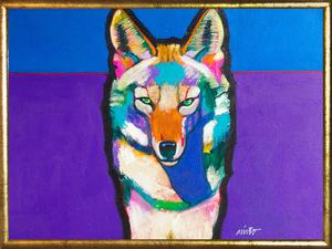 Medium trickster coyote framed