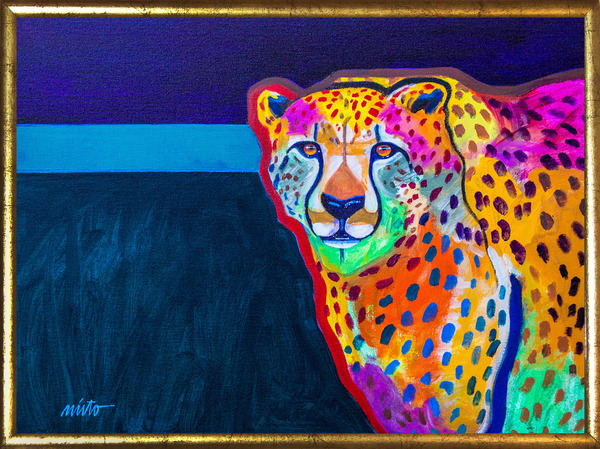 Large cheetah medicine framed