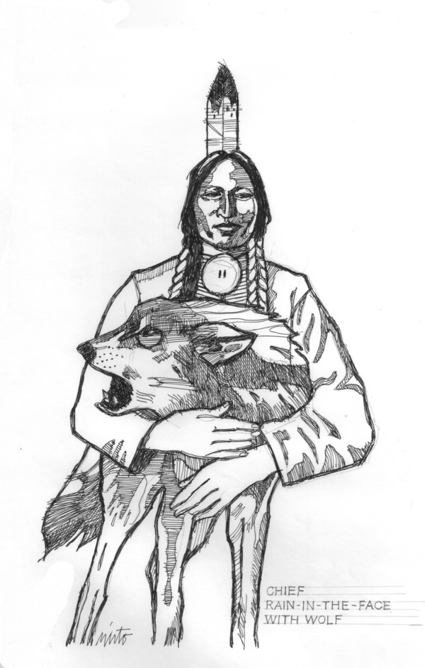 Large chief rain in the face with wolf ink