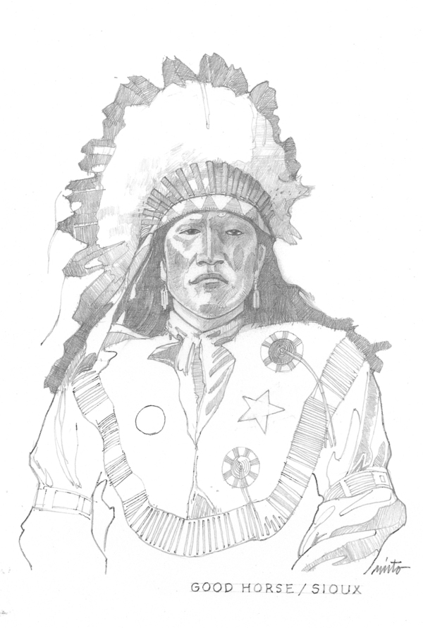 Large good horse sioux  pencil