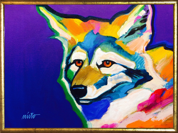 Large brown eyed coyote framed