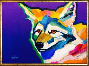 Medium brown eyed coyote framed
