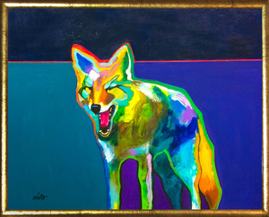 Medium sleepy coyote 24x30