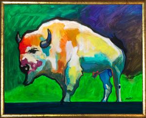 Medium legendary buffalo framed