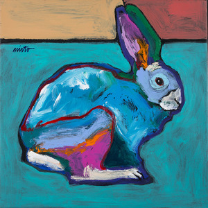 Medium turquoise rabbit 002